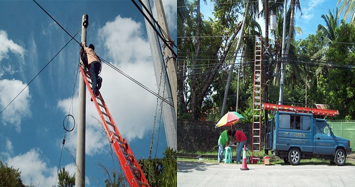 Installation of Aerial Fiber Cable at Bataan